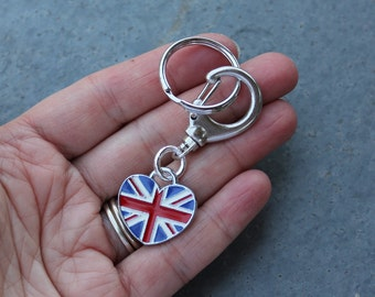 UK Love Keychain - heart shaped British flag charm on large clip and key ring - use as purse charm or keychain - Free Shipping USA