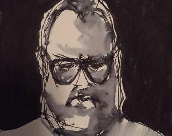 "Original Self Portrait Painting . ""7/28/15 (self portrait)"" 6x6in."