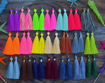 "3"" Silk Tassels with Braided Loop, NEW COLORS, Silky Tassels, Long Tassel, Jewelry Making, Fall Colors, Neon Colors / Pick your colors"