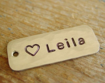 """Name Keychain Charm, Add On Charm, Custom, Hand Stamped, Silver Nickel, Personalized, Heart, Rectangle, 1 1/4"""" Long Pendant Tag"""