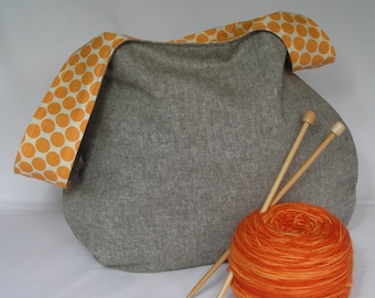 Japanese Knot Bag - Project bag - medium size - for knitting crochet - Linen and Amy Butler Dot  - free knitting pattern too