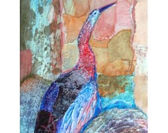 Bird Collage Art, Abstract Design, Bird Art Print, Acrylic Painting, Water Bird, Mixed Media, Acrylic Collage, Soft Colors, Wall Art, 10 x 8