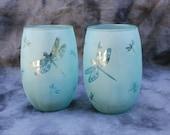 Dragonfly stemless wine glasses Aqua