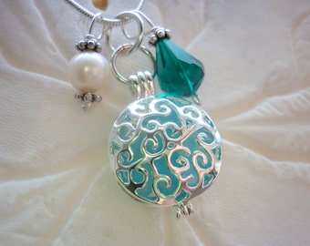 Aqua Blue Sea Glass Necklace Locket Jewelry Beach Pendant Silver
