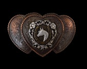 Women's Western Belt Buckle Three Heart Antiqued Bronze Finished Horse Belt Buckle