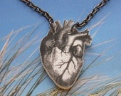 Small white  Anatomical Heart Pendant