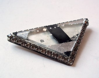 Vintage Mid-Century Modern Modernist Huge Triangle Glass Brooch - Geometric Monochrome Pin - Silver and Black Abstract Ribbons Under Glass