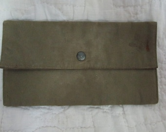 "Vintage Military Pouch with snap 7"" x 3 3/4"""