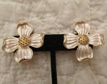 Vintage Earrings Clip on Large Metal Flowers SALE