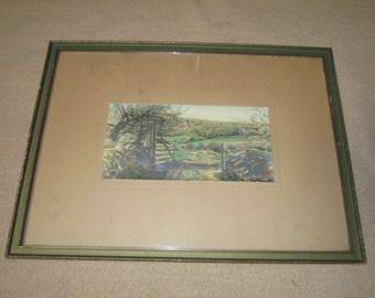 Antiquec1915 Framed Hand Colored Landscape Photograph Signed J.C. Bicknell