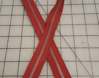 "Tomato Red Metal Separating Zipper 26.5"""