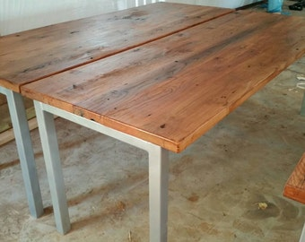 Reclaimed Barn Wood Industrial Table with Metal Legs and Free Shipping-BWITML700F