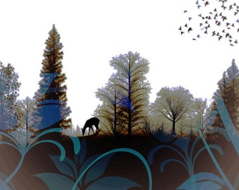 Deer Photomontage Art, Woodland Totem Animal, Doe Silhouette, Wall Hanging, Rustic Cabin, Landscape Home Decor, 8 x 8, Giclee Print