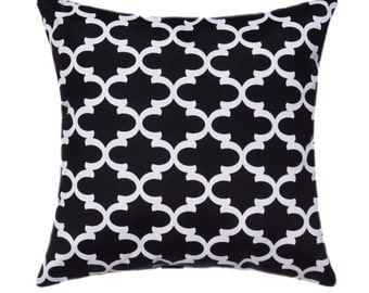 Black and White Throw Pillow, Premier Prints Fulton Shadow Black and White Moroccan Quatrefoil STUFFED Throw Pillow Free Shipping