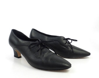 Oxford Leather Shoes Black Vintage 1980s Partners Heeled Women's size 8