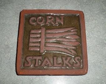 Corn Stalks sienna gold redware Moravian Mercer Tile primitive red clay with hanger