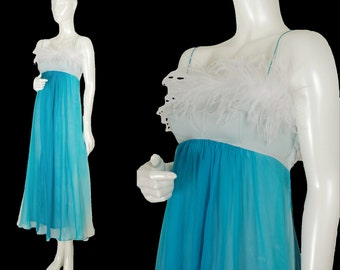 vintage 1960s aqua ostrich feather chiffon dress, floating Ginger Rogers ball gown, aqua and turquoise ombré degradé tie dye, size XS
