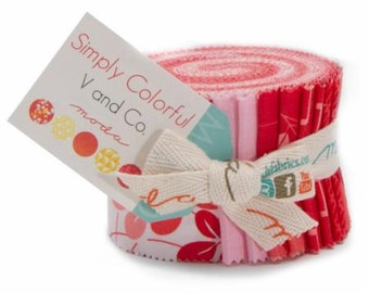 """Simply Colorful Red Jelly Junior Roll by V & Co. for Moda - 20 Count Rolls of 2 1/2"""" x WOF strips"""
