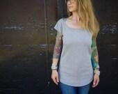 Eco Heather Grey Bamboo Jersey Scoop Neck Short Sleeve Shirt~Women's T Shirt~Casual Shirt~Cap Sleeve Shirt~Fitted Shirt~Maternity~Plus Size