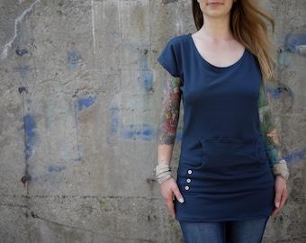 Organic Navy Blue Cap Short Sleeve Eco Shirt with Pockets| Scoop Neck|Plus Size Shirt |Short Sleeve Shirt|Maternity Shirt|Kangaroo Pocket