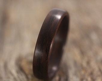 Size 13.75 - Classic Indian Rosewood Bentwood Ring - Handcrafted Wooden Ring