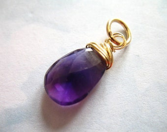 PURPLE AMETHYST Pendant Charm Add a Dangles, Pear Briolette, 19-21 mm, Sterling Silver or Gold Fill, february birthstone gd88 solo tr