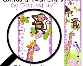 Canvas GROWTH CHART Girly Purple Jungle Animals Girls Bedroom Baby Nursery Wall Art GC0057