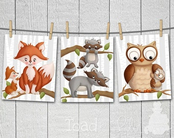 Set of 3 Mommy and Me Gender Neutral Forest Animal Woodland Critter Tales Kids Bedroom Baby Nursery 8x10 ART PRINTS