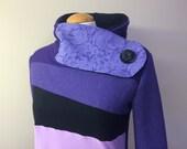 PURPLE YAM - Hoodie Sweatshirt Sweater - Recycled Upcycled - One of a Kind Women - MEDIUM