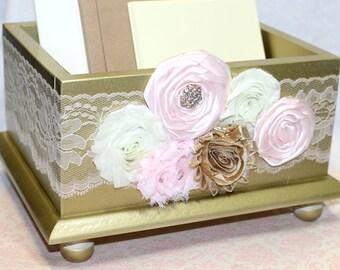 card box blush and gold card box gold card box wedding card box