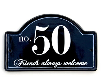 black friends welcome personalised hand painted house plaque, house number, house name plaque on ceramic base