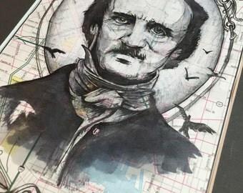PRINT: Poe on Vintage Baltimore Map