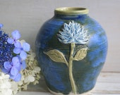 Ceramic Flower Vase in Rustic Blue Glaze, Wheel Thrown and Carved Floral Art Vase Ready to Ship Made in USA