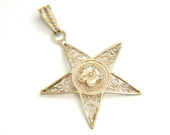 VINTAGE Silver Star Pendant - Filigree Bohemian Festival Jewelry - 800 Silver - 1960s