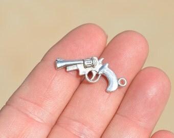 BULK 50 Silver Hand Gun Charms SC4048