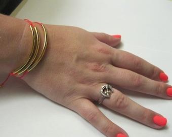 Triple Gold Tube Bracelets
