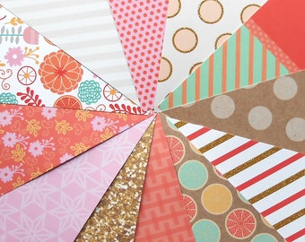 DESTASH - Craft Smith Sweet Soiree: Flowers - Pack of 12 Different Scrapbook Papers, 6 inch X 6 inch