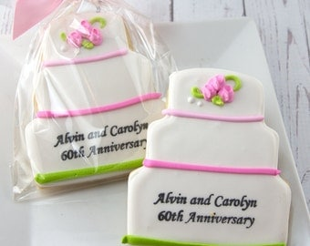 Personalized Wedding Cake Cookies - 12 Decorated Sugar Cookie Favors