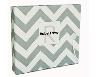 Gray Chevron Stripe Baby Book | Ruby Love Baby Memory Book