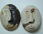 ceramic  pendant clay necklace ornament set of two SALE