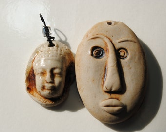 ceramic face pendant clay necklace ornament set of two SALE