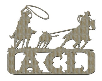 Unfinished Wood Cowboy Team Roper Monogram Name in 17.5 inch tall x 22.5 inch wide