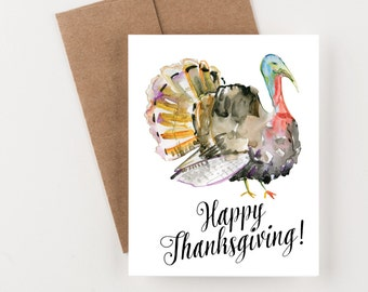 Happy Thanksgiving Holiday Greeting Card, Watercolor Turkey