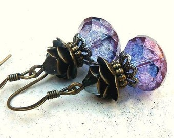 Purple Rose Drop Earrings -  Bohemian Czech Glass, Crystal, Gift for Her, Women's Gifts, Antique Brass, Swarovski Crystal