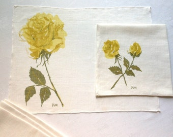 Vera Yellow Rose Linen 4 Placemats 4 Napkins Set