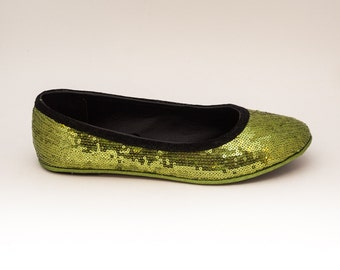 Sequin Tiny Sequin Lime Green with Black Accent Trim Casual Ballet Flats Slippers Shoes