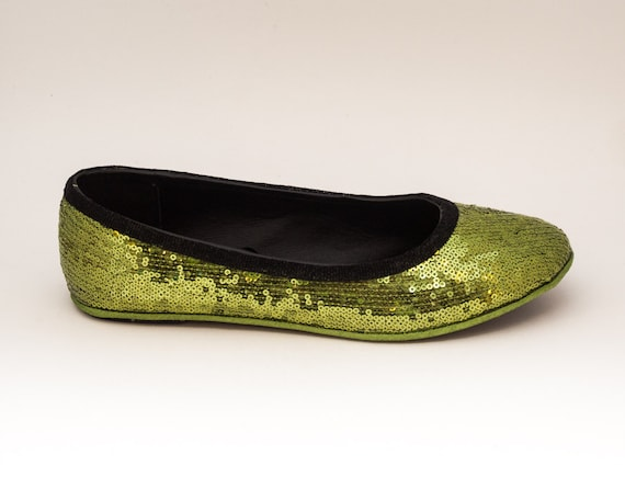 Sequin Tiny Sequin Olive Green with Black Accent Trim Casual Ballet Flats Slippers Shoes