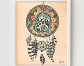 "Dream Catcher Print Art Wall Decor, Digital Print ""The Dream Catcher - No.1"", Dream Catcher Digital Illustration  Poster, Wall Quote"