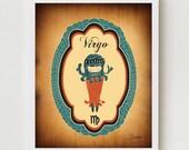 "Virgo Zodiac Illustration Wall Decor, Horoscope Print Art ""VIRGO"" Zodiac Sign, Astrology Drawing Wall Art / Virgo Poster Pink, Blue, or Red"