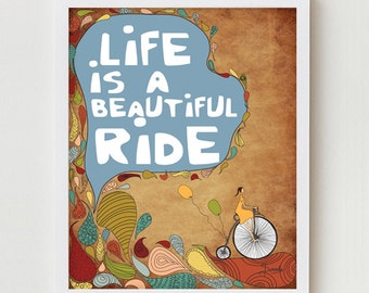 Motivational Print Illustration Wall Decor, Bike Print, Motivational Quote Inspirational Illustration, Bicycle Wall Art Typography Poster